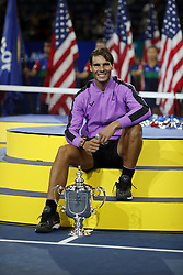 NEW YORK, Sept. 9, 2019  Rafael Nadal of Spain poses during the awarding ceremony after the men's singles final match between Rafael Nadal of Spain and Daniil Medvedev of Russia at the 2019 US Open in New York, the United States, Sept. 8, 2019. (Credit Image: © Li Muzi/Xinhua via ZUMA Wire)