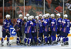 Slovenian team sad after ice-hockey game Slovenia vs Slovakia at second game in  Relegation  Round (group G) of IIHF WC 2008 in Halifax, on May 10, 2008 in Metro Center, Halifax, Nova Scotia, Canada. Slovakia won after penalty shots 4:3.  (Photo by Vid Ponikvar / Sportal Images)