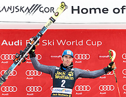 05.03.2017, Podkoren, Kranjska Gora, SLO, FIS Weltcup Ski Alpin, Kranjska Gora, Slalom, Herren, Siegerehrung, im Bild Stefano Gross (ITA, 2. Platz) // second placed Stefano Gross of Italy during the winner Ceremony for the men's Slalom of FIS Ski Alpine World Cup at the Podkoren in Kranjska Gora, Slovenia on 2017/03/05. EXPA Pictures © 2017, PhotoCredit: EXPA/ Johann Groder