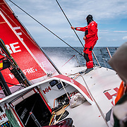 Leg 9, from Newport to Cardiff, day 04 on board MAPFRE, Antonio Cuervas-Mons checking the trim of the sails. 23 May, 2018.