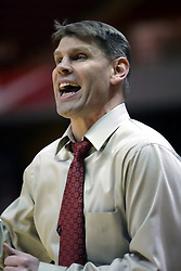 09 January 2007: Coach Porter Moser. The Illinois State Redbirds, winless in the Missouri Valley Conference, knocked off the undefeated  Panthers of Northern Iowa 67-64 in overtime at Redbird Arena in Normal Illinois on the campus of Illinois State University.<br />