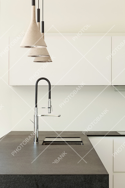 Architecture modern design, interior, domestic kitchen, detail