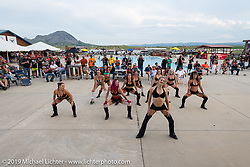 Purrfect Angelz dance troupe performed at the HOG (Harley Owners Group) party by the pool at the Full Throttle Saloon during the Sturgis Black Hills Motorcycle Rally. SD, USA. Thursday, August 8, 2019. Photography ©2019 Michael Lichter.