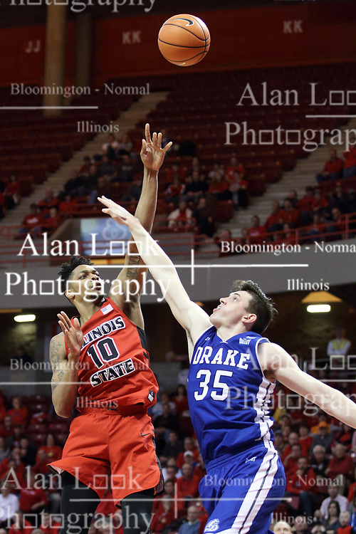 21 February 2018:  Nick McGlynn defends Phil Fayne during a College mens basketball game between the Drake Bulldogs and Illinois State Redbirds in Redbird Arena, Normal IL