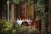 Breakfast setting on verandah of B&B near Maitland, NSW, Australia