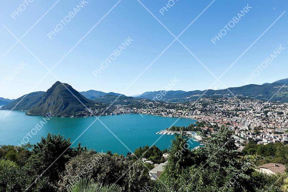 Lake Lugano, panoramic view from the top, switzerland