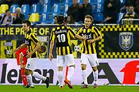 arnhem, 24-10-2010, vitesse - utrecht 1-4<br /> Dalibor Stevanovic is blij na de 1-4 met debutant Marcus Pedersen