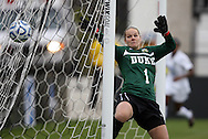 04 December 2011: Duke's Tara Campbell (1) is beaten for a goal by Stanford's Teresa Noyola (not pictured). The Stanford University Cardinal defeated the Duke University Blue Devils 1-0 at KSU Soccer Stadium in Kennesaw, Georgia in the NCAA Division I Women's Soccer College Cup Final.