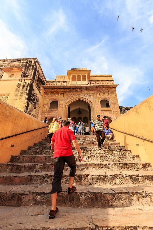 The Amer Fort in Jaipur, India. Singh Pol or The Lion gate is the way to the private quarters in the palace premises and is named as 'Lion Gate' as it denotes strength.