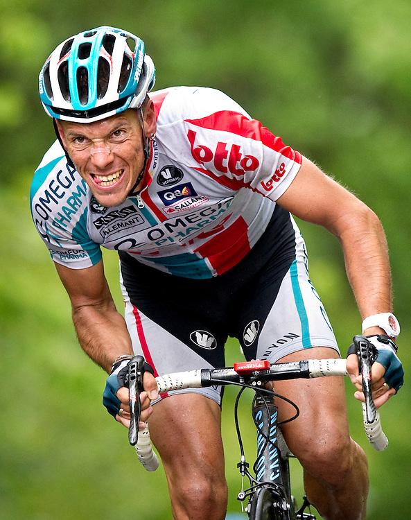 Belgie, La Gileppe, 18-06-2011.<br /> Wielrennen, Ster ZLM Toer.<br /> Philippe Gilbert zet 400 meter voor de finish tijdens de beklimming aan en laat iedereen achter zich.<br /> Foto : Klaas Jan van der Weij