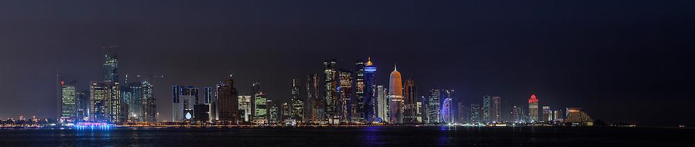 night cityscape of Doha Qatar