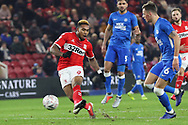 Middlesbrough forward Britt Assombalonga (9) strokes the ball home for his second and Middlesbrough's four goal during The FA Cup 3rd round match between Middlesbrough and Peterborough United at the Riverside Stadium, Middlesbrough, England on 5 January 2019.