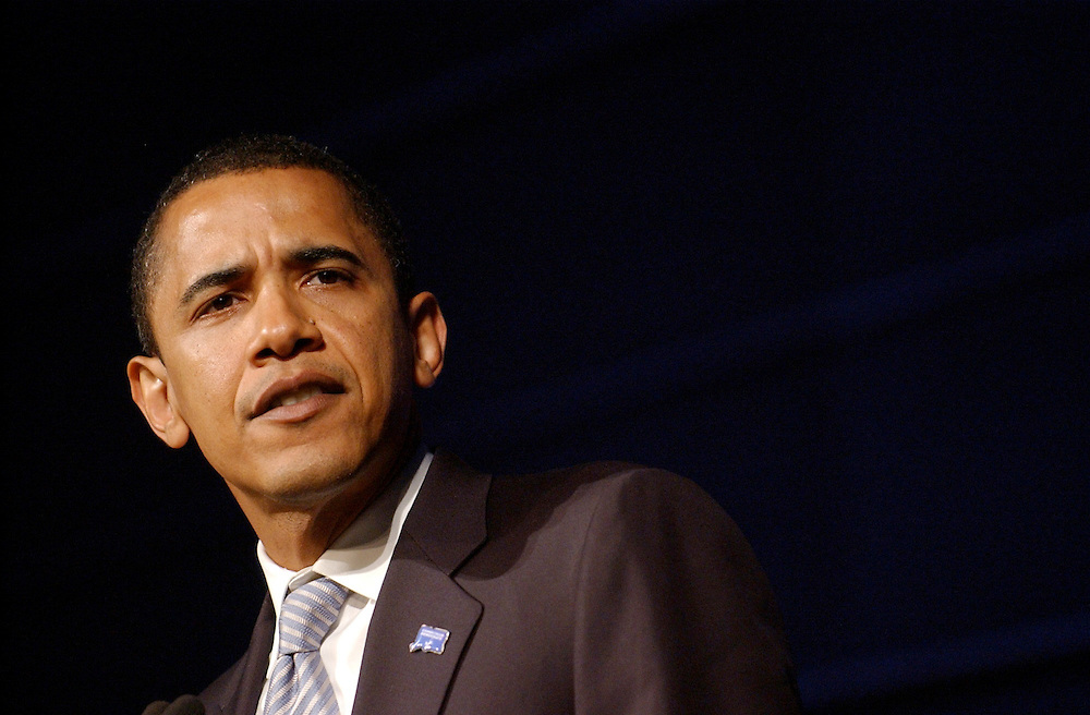 President Barack Obama delivers the keynote address at the state Democratic Party's annual Jefferson Jackson Bailey fundraiser at the Connecticut Convention Center in Hartford, Conn.