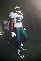Philadelphia Eagles cornerback Sheldon Brown #24 prepares to enter the field before the NFL game between the Tampa Bay Buccaneers and the Philadelphia Eagles on October 11th 2009. The Eagles won 33-14 at Lincoln Financial Field in Philadelphia, Pennsylvania. (Photo By Brian Garfinkel)