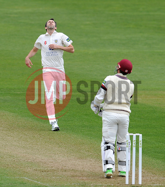 Dejection for Durham's Graham Onions - Photo mandatory by-line: Harry Trump/JMP - Mobile: 07966 386802 - 12/04/15 - SPORT - CRICKET - LVCC County Championship - Day 1 - Somerset v Durham - The County Ground, Taunton, England.