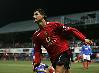 Photo: Lee Earle.<br /> Portsmouth v Manchester United. The Barclays Premiership. 11/02/2006. United's Cristiano Ronaldo celebrates after scoring their third goal.