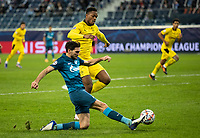 SAINT PETERSBURG, RUSSIA - DECEMBER 08: Magomed Ozdoev of Zenit St. Petersburg crosses the ball into the box during during the UEFA Champions League Group F stage match between Zenit St. Petersburg and Borussia Dortmund at Gazprom Arena on December 8, 2020 in Saint Petersburg, Russia. (Photo by MB Media)
