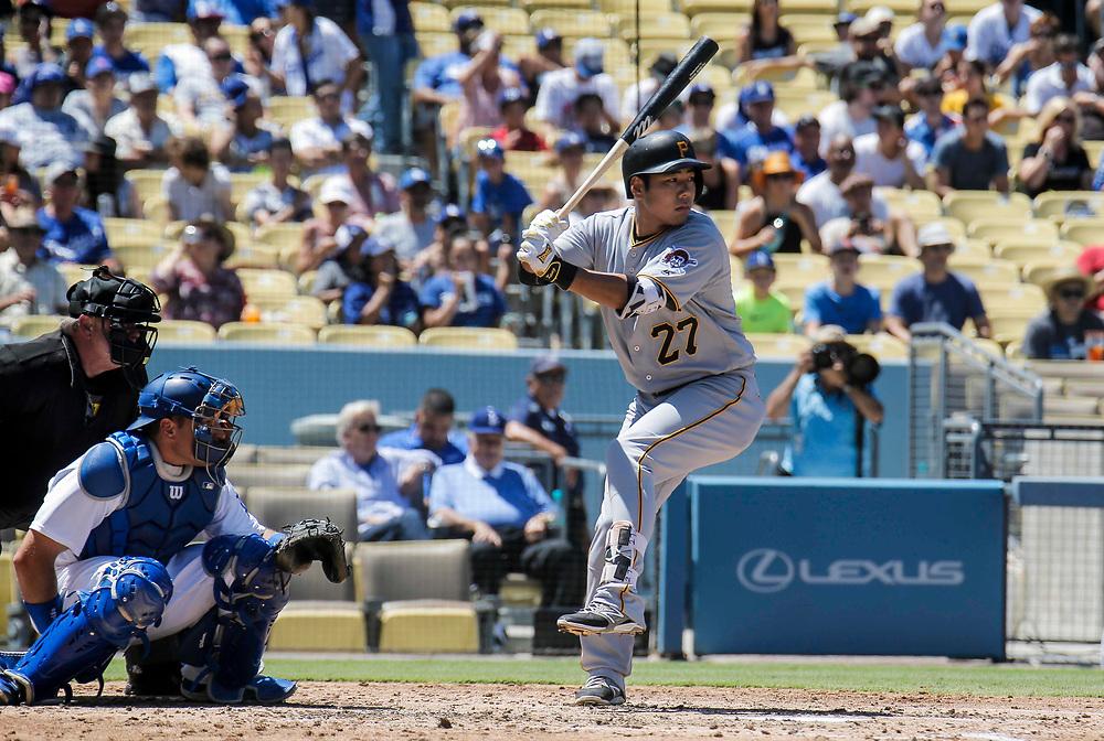 Aug 13 2016 - Los Angeles U.S. CA - Pittsburgh Pirates 3B # 27 Jung Ho Kang up at bat hit a single during MLB game between LA Dodgers and the Pittsburgh Pirates 8-4 lost at Dodgers Stadium Los Angeles Calif. Thurman James / CSM