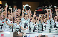 Rugby Union - 2017 Women's Varsity Match - Oxford University vs. Cambridge University<br /> <br /> Cambridge Captain, Lara Gibson lifts the trophy with her team mates at Twickenham.<br /> <br /> COLORSPORT/ANDREW COWIE
