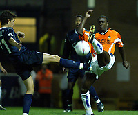 Photo. Chris Ratcliffe<br />Southend v Bristol Rovers. LDV Vans Southern Section. 14/10/2003<br />ijah Andersen of Bristol and Micheal kightley of Southend go for the same ball