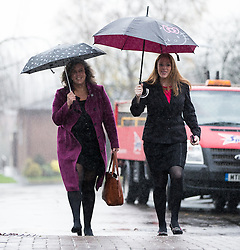 © Licensed to London News Pictures . 01/12/2015 . Oldham , UK . Labour Shadow Health Secretary HEIDI ALEXANDER (l) arriving at Royton Medical Centre in Oldham , as part of Labour's campaign for the seat of Oldham West and Royton , following the death of sitting MP Michael Meacher . Photo credit : Joel Goodman/LNP