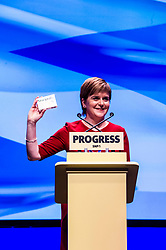 Pictured: The First Minister was ready for anything as she closed the SNP conference.<br /> <br /> Nicola Sturgeon topped the bill on the final day of th SNP conference<br /> The members of the SNP gathered in the Scottish Events Centre in Glasgow for their annual conference.<br /> <br /> Ger Harley | EEm 910 October 2017