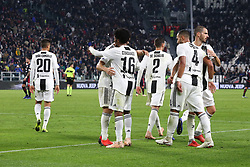 November 3, 2018 - Turin, Piedmont, Italy - Juan Cuadrado (Juventus FC) celebrates with teammates after scoring the third goal for Bianconeri during the Serie A football match between Juventus FC and Cagliari Calcio at Allianz Stadium on November 03, 2018 in Turin, Italy. Juventus won 3-1 over Cagliari. (Credit Image: © Massimiliano Ferraro/NurPhoto via ZUMA Press)
