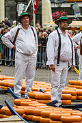 Traditional Carriers at Alkmaar cheese market, Netherlands