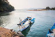 Fishing boats in a port at Talpona Beach, South Goa, India