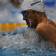 Christian Sprenger, Australia, in action during the Men's 100m breaststroke semi finals during the swimming finals at the Aquatic Centre at Olympic Park, Stratford during the London 2012 Olympic games. London, UK. 28th July 2012. Photo Tim Clayton