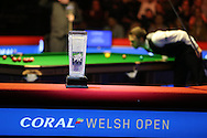 The new Ray Reardon trophy for the winner is seen during the match as Judd Trump lines up a pot. Coral Welsh Open Snooker 2017, final match, Judd Trump of England v Stuart Bingham of England at the Motorpoint Arena in Cardiff, South Wales on Sunday 19th February 2017.<br /> pic by Andrew Orchard, Andrew Orchard sports photography.