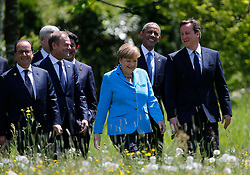 07.06.2015, Schloss Elmau, Krün, GER, G7 Gipfeltreffen auf Schloss Elmau, im Bild Angela Merkel beim Spaziergang mit Barack Obama und David Cameron, links Francois Hollande und Donald Tusk // during the G7 summit at Schloss Elmau in Krün, Germany on 2015/06/07. EXPA Pictures © 2015, PhotoCredit: EXPA/ SM<br /> <br /> *****ATTENTION - OUT of GER*****