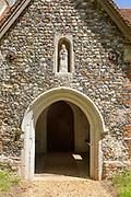 Village parish church of Saint Mary, Little Blakenham, Suffolk, England, UK Blessed Virgin Mary baby Jesus sculpture