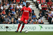 Liverpool's Andre Wisdom in action. Pre-season friendly match, Preston North End v Liverpool at Deepdale in Preston, England on Saturday 19th July 2014.<br /> pic by Chris Stading, Andrew Orchard sports photography.