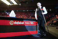 Joe Perry (Eng) walks past the trophy as he is announced to the crowd for the start of the match. Ronnie O'Sullivan (Eng) v Joe Perry (Eng), the Masters Final at the Dafabet Masters Snooker 2017, at Alexandra Palace in London on Sunday 22nd January 2017.<br /> pic by John Patrick Fletcher, Andrew Orchard sports photography.