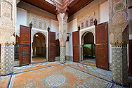 Arabesque Moorish plasterwork and zellij mosaics of the Dar Jamai Museum  a typical dwellings of high Moroccan bourgeoisie at the end of XIX century. located in the old Medina built by Mohamed Ben Larbi Jamai grend vizier of Sultan Moulay Hassan (1873-1894). Meknes, Morocco .<br /> <br /> Visit our MOROCCO HISTORIC PLAXES PHOTO COLLECTIONS for more   photos  to download or buy as prints https://funkystock.photoshelter.com/gallery-collection/Morocco-Pictures-Photos-and-Images/C0000ds6t1_cvhPo<br /> .<br /> <br /> Visit our ISLAMIC HISTORICAL PLACES PHOTO COLLECTIONS for more photos to download or buy as wall art prints https://funkystock.photoshelter.com/gallery-collection/Islam-Islamic-Historic-Places-Architecture-Pictures-Images-of/C0000n7SGOHt9XWI
