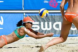 Juliana Felisberta Silva of Brazil receives the ball at A1 Beach Volleyball Grand Slam tournament of Swatch FIVB World Tour 2010, final, on July 31, 2010 in Klagenfurt, Austria. (Photo by Matic Klansek Velej / Sportida)