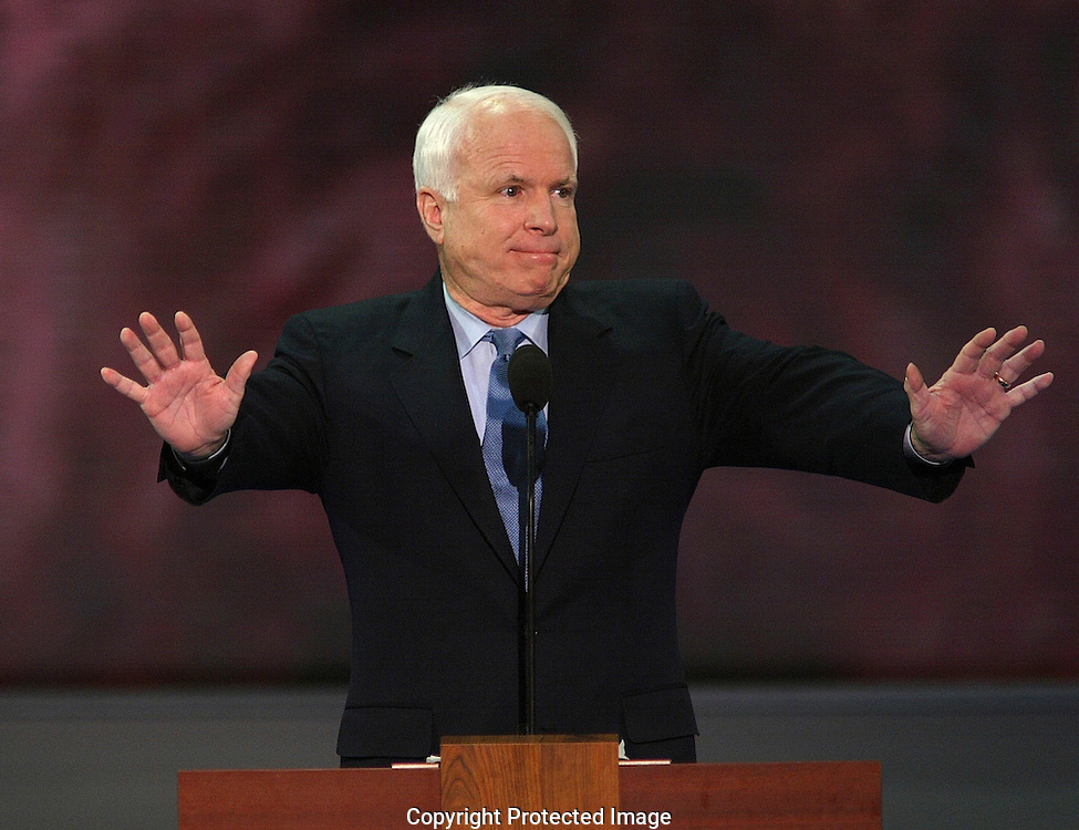 A 24 MG IMAGE OF:.Senator John McCain speaks at the Republican National Convention in New York, NY on August 30.2004. Photo by Dennis Brack
