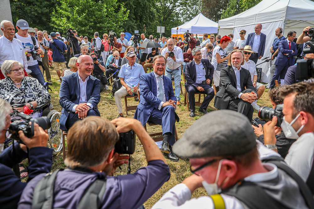 Party leader and Chancellor candidate of the Christian Democratic Union of Germany  (CDU), Armin Laschet attends an election campaign event near the Glienicker Brücke in Potsdam, Brandenburg, Germany August 13, 2021. Germany will hold its federal elections on September 26, 2021.