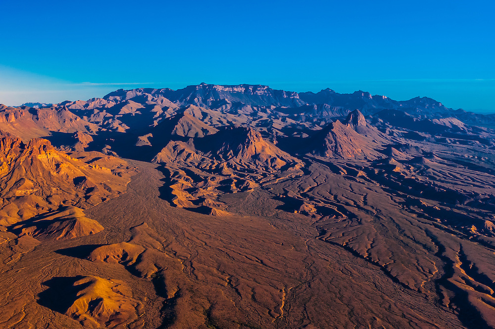 Aerial view of the Chisos Mountains, Big Bend National Park, Texas USA.