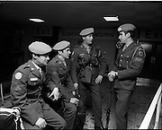 05/01/1972.01/05/1972.05 January 1972.Troops return from Cyprus to Dublin.  L-R: Gunner Robert English C.D.A. Spike Island; Private Michael Finn, 1st Feild C.O.E., Cork; Cpl. Thomas Rochford, 1st Field C.O.E. Cork and Cpl. Maurice Lordan, Records Office, Collins Barracks, Cork.