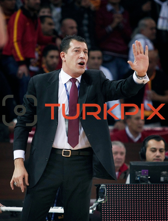 Anadolu Efes's coach Ufuk SARICA during their BEKO Basketball League derby match Galatasaray between Anadolu Efes at the Abdi Ipekci Arena in Istanbul at Turkey on Sunday, November 13 2011. Photo by TURKPIX