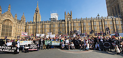 Old Palace Yard, London, March 27th 2017. Anti- badger cull protesters demonstrate outside Parliament as the government's measures against bovine tuberculosis are debated. CREDIT: ©Paul Davey<br /> <br /> Image ©Paul Davey<br /> FOR LICENCING CONTACT: Paul Davey +44 (0) 7966 016 296 paul@pauldaveycreative.co.uk