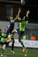 Blaine Scully of the Cardiff Blues (l) collides with Zane Kirchner of Leinster ® as they jump for a high ball.   Guinness Pro12 rugby match, Cardiff Blues v Leinster at the Cardiff Arms Park in Cardiff, South Wales on Saturday 1st October 2016.<br /> pic by Andrew Orchard, Andrew Orchard sports photography.