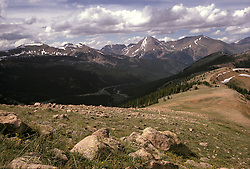 Rocky Mountain Range Panorama from Monarch Pass (or of Monarch Peak) Colorado. Could be both? Shot with Nikon Ftn Camera, 35mm f/2 lens, 125th f/8, Kodachrome Film on 20 July 1973
