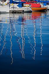 United States, Washington, Seattle. Sailboats in a marina in Seattle.