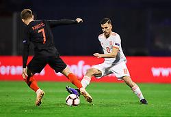 Ivan Rakitić of Croatia vs Dani Ceballos of Spain during the UEFA Nations League football match between Croatia and Spain, on November 15, 2018, at the Maksimir Stadium in Zagreb, Croatia. Photo by Morgan Kristan / Sportida