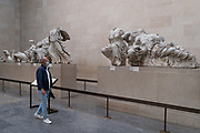 Now re-opened after months of closure during the Coronavirus pandemic, one of the first visitors who have pre-booked free tickets, once again enjoy the ancient Greek Parthenon's Elgin Marbles Metopes and other historical artifacts in the British Museum, on 2nd September 2020, in London, England.