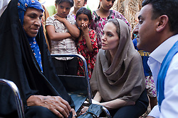 UNHCR Special Envoy, Angelina Jolie continued her regional tour visiting Iraq, on September 16, 2012. On the fourth leg of a tour to support UNHCR's regional response to the Syrian refugee situation, Special Envoy Angelina Jolie spent the day visiting an area of Baghdad home to families previously displaced by the conflict in Iraq and now returning due to conflict in Syria. Photo by UNHCR/JTanner via ABACA PRESS.COM