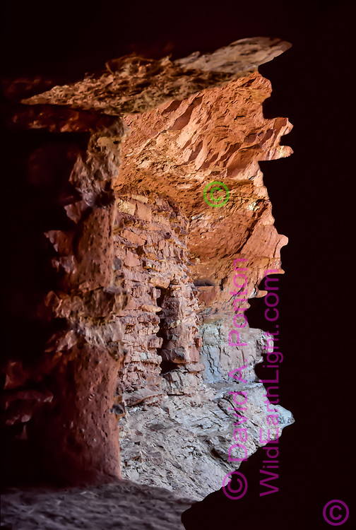 Camera placed inside room 1 gives a view of room 4, Nankoweap Ruins, Grand Canyon, photographed 8/23/1981.  Grand Canyon National Park, © 1981 David A. Ponton